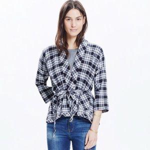 Madewell Plaid Wrap Kimono Jacket Top